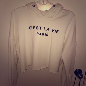 Off white cropped hoodie